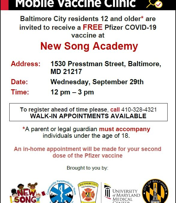 FREE Pfizer COVID-19 vaccine clinic here at New Song Community Learning Center